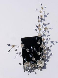 Vintage Art Deco Rhinestone Seashell Flowers Wedding Bridal Hand Made Earrings | eBay