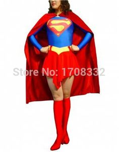 free shipping Red & Blue Superwoman Costume Full Body Zentai Suit Classic Superman costume #Affiliate