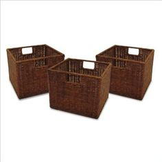 Amazon.com: Winsome Small Wired Baskets in Antique Walnut (Set of 3): Home & Kitchen