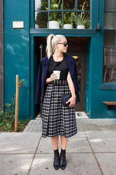 Get this look: http://lb.nu/look/6763470  More looks by Bryn Newman (Stone Fox Style): http://lb.nu/brynnewman  Items in this look:  Joa Plaid Midi Skirt, Sanctuary Quilted Jacket   #chic #edgy #elegant