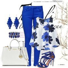 Azul by ebramos on Polyvore featuring moda, Chicnova Fashion, Boutique Moschino, Ted Baker, Michael Kors, Amrita Singh and M&Co