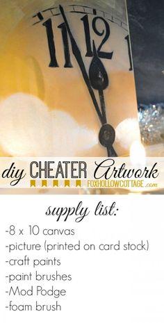 Diy Cheater Artwork: Craft Project Supplies #diyhomedecor #newyearseve
