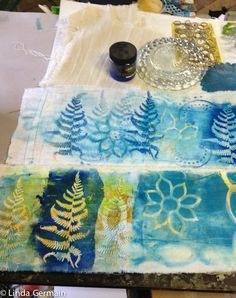 CLICK - Share & Inspire Today I added a layer and focus to a few monoprints on fabric. I set up my space and gathered a few tools. I found a few prints that I pulled last week and decided to add some focus and darker marks. I picked one sturdy fern that I had …