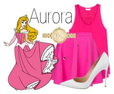 """Aurora~ DisneyBound"" by basic-disney ❤ liked on Polyvore featuring Rebecca Taylor, Gianvito Rossi and Kate Spade"