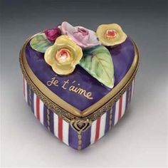 Limoges Blue Heart with Yellow  Roses I Love you Box  The Cottage Shop