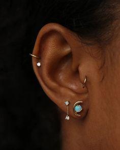 Large Opal Arc Earrings – WWAKE Ear Piercings Chart, Different Ear Piercings, Piercing Chart, Ear Peircings, Cool Ear Piercings, Types Of Ear Piercings, Multiple Ear Piercings, Tragus Piercings, Piercing Ideas