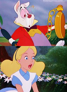 *WHITE RABBIT & ALICE ~ Alice in Wonderland, 1951....Why it's a rabbit!