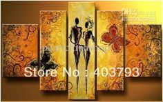 MODERN ABSTRACT HUGE WALL ART OIL PAINTING ON CANVAS happy lover for home decoration