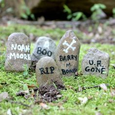 Mansion-inspired Mini Gravestones mini gravestones for a spooky fairy garden or Halloween terrarium.mini gravestones for a spooky fairy garden or Halloween terrarium. Halloween Fairy, Halloween Village, Fall Halloween, Halloween Decorations, Halloween Ideas, Halloween Office, Garden Decorations, Halloween Miniatures, Gardening For Beginners