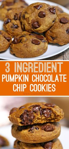 Pumpkin Chocolate Chip Cookies- Looking for a quick and easy fall dessert? Pumpkin Chocolate Chip Cookies require–you guessed it–just 3 common pantry ingredients. You can whip these up in no time! Fall Dessert Recipes, Fall Desserts, Party Desserts, Pumpkin Chocolate Chip Cookies, Dessert Chocolate, Easy Pumpkin Cookies, Pumpkin Bread, Quick Cookies, Homemade Cookies