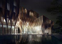 Zaha Hadid Architecture, Architecture Design, Futuristic Architecture, Amazing Architecture, Contemporary Architecture, Landscape Architecture, Landscape Design, Wooden Architecture, Architecture Colleges