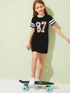 To find out about the Girls Striped & Floral Number Print Tee Dress at SHEIN, part of our latest Girls Dresses ready to shop online today! Girls Fashion Clothes, Teen Fashion Outfits, Tween Fashion, Stylish Outfits, Girl Fashion, Cute Girl Outfits, Kids Outfits Girls, Cute Summer Outfits, Girls Dresses Online