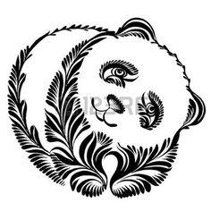cartoon panda: vector, artistic, decorative silhouette in grunge style