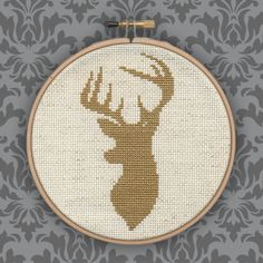 Finished+Stag+Silhouette+Cross+Stitch+Wall+Art+by+GirlGotHeart,+£28.00