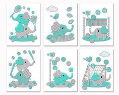 Turquoise grey elephants nursery wall art Baby by PinkRockBabies