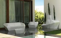 Geo Resin Sectional Outdoor Sofa & Lounge Chair Collection