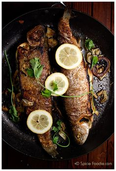 recipe; how to cook trout; pan fried; Crispy Fish; Crispy Pan Fried Trout; Brook Trout; trout; European; lemon; garlic; pepper; grilled; pan fried; cilantro; healthy; low fat; low calories; olive oil; grilled; Spicie Foodie; fish