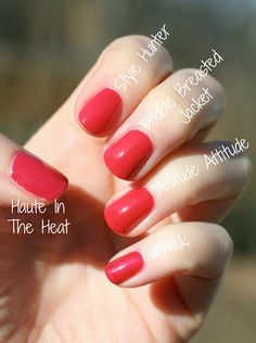 Essie Pink-Toned Reds Comparison: Haute in the Heat, Style Hunter, Double Breasted Jacket, Altitude Attitude & Catwalk   Essie Envy