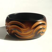 Ahhhh... Bakelite Bangle Bracelet ~ Carved & Overdyed