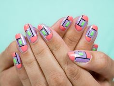 Quick tutorial for this geometric pastel design is on FB! Pastel Designs, Nail Designs, Striping Tape, Gem S, Natural Nails, Manicures, My Nails, Nailart, Beauty