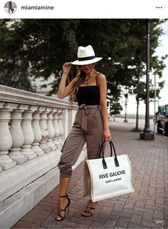 the Saint Laurent Rive Gauche tote. Which look is your fave: 5 or I clearly have a fave color palette too. Miami Outfits, Vacation Outfits, Summer Outfits, Fashion Mode, Fashion Outfits, Fashion Trends, Effortlessly Chic Outfits, Khaki Joggers, Casual Day Dresses