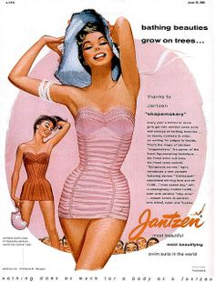 """""""Bathing Beauties Grow on Trees"""" Jantzen swimwear advertisement illustrated by Pete Hawley, 1955 Vintage Bathing Suits, Vintage Swimsuits, Vestidos Pin Up, Pub Vintage, Vintage Style, Vintage Beauty, Vintage Pink, Vintage Outfits, Vintage Fashion"""