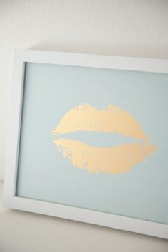 Lippy Lippy Gold Foil and Mint Lip Print 8x10 by TarynStMichele