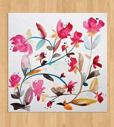 Modern Floral Watercolor - No. 3 | From the artist's Bohemian Garden series, this abstracted, dee... | Posters