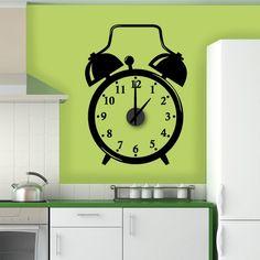 Relógio Despertador em vinil autocolante decorativo de parede - com mecanismo de relógios. - www.iconstore.pt