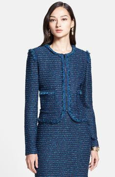 Free shipping and returns on St. John Collection Bouclé Tweed Knit Jacket with Shredded Fringe Trim at Nordstrom.com. A gorgeous evening jacket boasting a trim and impeccably tailored silhouette plays with texture and color. Feathery fringe outlines the nubby-knit tweed style, cast in stunning shades of blue. A modern zip placket completes the contemporary look.