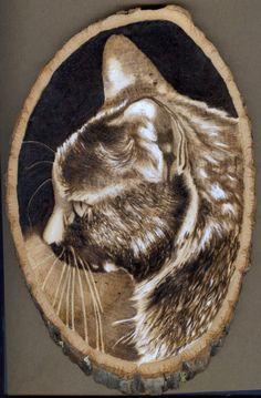 cat woodburning on basswood by jmix2.deviantart.com on @deviantART