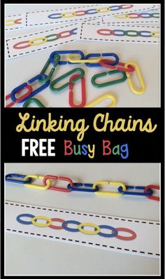 FREE printable preschool and kindergarten center activity. Also perfect for a busy bag activity! My kids love linking chains!