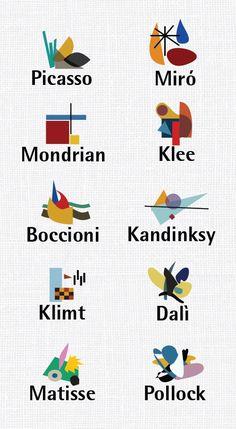 Pollock, Dalí, Matisse, Klimt, Picasso, Mondrian, Klee, Boccioni, Kandinsky, and Miro, visually distilled.