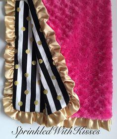 Gold polka dot metallic baby & toddler minky blanket, gold dots blanket, toddler minky blanket