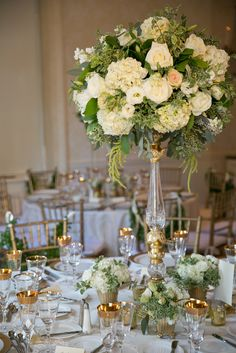 Elegant white and green tall cenerpieces | Kristine Foley Photography | Fleurs NYC