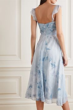 Marchesa Notte - Floral-print chiffon and Chantilly lace midi dress Marchesa Notte Dress, Beautiful Dresses, Nice Dresses, Chiffon Material, Lace Midi Dress, Chantilly Lace, Formal Gowns, Fashion Branding, Special Occasion Dresses