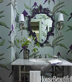 In the powder room of a whimsical prewar New York City apartment, designer Fawn Galli painted the ornate shield mirror to match the purple in Cole & Son's Orchid wallpaper. Cole And Son Wallpaper, Of Wallpaper, Orchid Wallpaper, Bathroom Wallpaper, 2015 Color Trends, Home Interior, Interior Design, Home Luxury, Powder Room Decor
