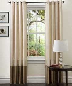 Cheap curtains from zulily. So addicted to this site!!! Ivory & Taupe Curtain Panel - Set of Two by Lush Décor #zulilyfinds