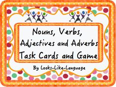 Identify parts of speech as used in sentences, form compound sentences or expand sentences by using adjectives and adverbs in this versatile game/task card set from Looks-Like-Language! Strategies and 128 task/game cards! $