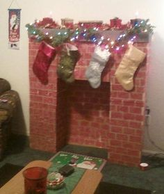 DIY Fireplace mantel from cardboard box for Christmas
