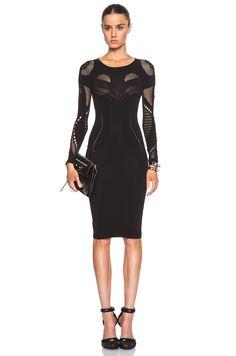 McQ Alexander McQueen Mesh Dress in Darkest Black