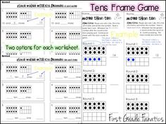 """Unit, """"Place Value Numbers 10-19: Using 10 Frames & Cubes"""" (from First Grade Fanatics)"""