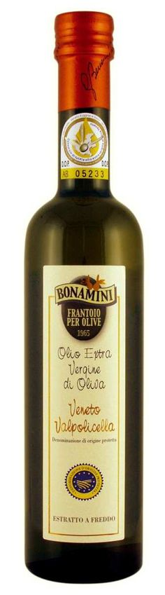 "Bonamini Veneto Valpolicella D.O.P extra virgin olive oil  Winner of the FLOS OLEI  2013 category for ""The Best Extra Virgin Olive Oil Pdo/Pgi - Light Fruity""  Available from www.damianifinefoods.ca Gourmet Recipes, Whiskey Bottle, Olive Oil, Good Things, Foods, Drinks, Food Food, Drinking, Food Items"