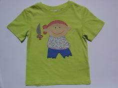 Camisetas - Camiseta con pirata - hecho a mano por Lacasitadecaperucita en DaWanda