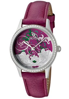 Croton CN207317PSPP, Women's genuine leather strap watch with clouds and flowers on dial.