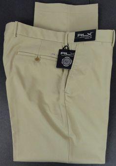 """NWT POLO RLX Golf Ralph Lauren Gabardine Tech Pants Khaki Mens 36"""" W X 30"""" L New #RLXRalphLauren #GolfCasual"""