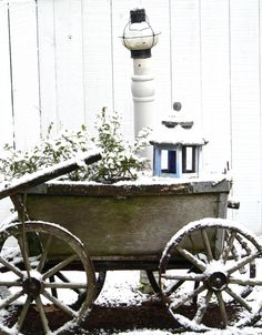 During winter, my old potato wagon added much character and interest by the front gate.