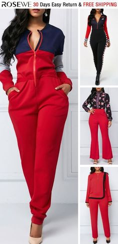 Color Block Zipper Up Long Sleeve Jumpsuit. Black Girl Fashion, Curvy Fashion, Pretty Outfits, Cute Outfits, Work Outfits, Jumpsuits For Women, Fashion Jumpsuits, Latest African Fashion Dresses, Classy Casual