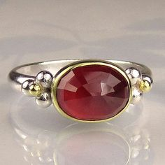 Rose Cut Ruby Ring - 18k Gold and Sterling
