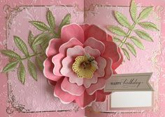Perfect Floral Pop Up Card Making Kit - Anna Griffin Pop Up Flower Cards, Pop Up Flowers, Pop Up Cards, Birthday Sentiments, Card Sentiments, Birthday Cards, Slider Cards, Pink Paper, Paper Bows